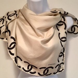 """Authentic Chanel Silk Scarf 26""""x 26"""". Double C's"""